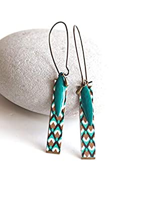 Boucles d'oreilles, Pendantes, Géométrique, Turquoise et Doré, Bronze, Bijoux pour Femme