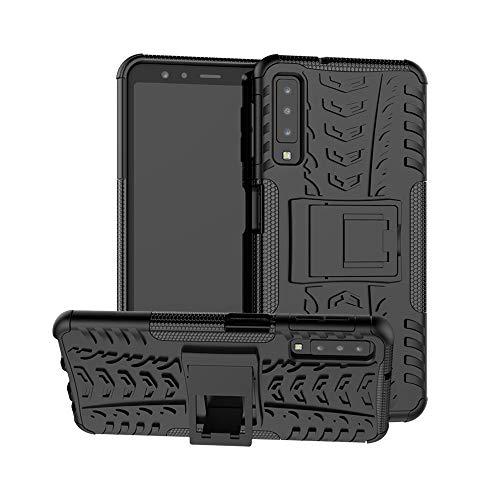 DAYNEW Cover per Samsung Galaxy A7 2018 A750,Telefono Stent Guscio Resistenza Goccia, Coperchio di Protezione Profilo del Pneumatico 360 Gradi Armatura,per Samsung Galaxy A7 2018 A750-Nero