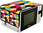 Amaziokart Jute Digital Printed Microwave Oven top Cover 14 * 34 inches with 4 Pocket Home Decor (Hexagonal)