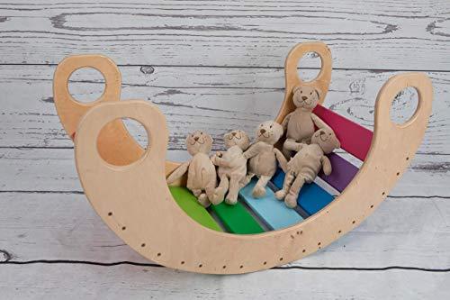 balancin arcoiris rocker Rainbow Montessori Waldorf pikler regalo para niños Juego de caballos Silla mecedora Juego de madera color natural EN71 para recién nacido no tóxico