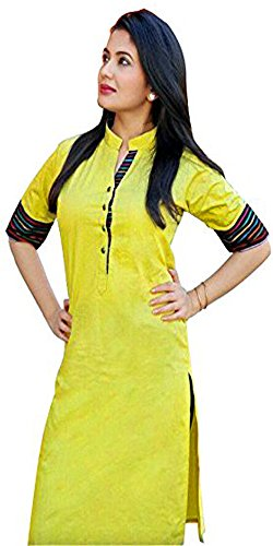 Aracruz Women's Clothing Designer Wear buy online in Low Price Sale Offer Lemon Yellow Color Plain Cotton Fabric Top Dress Tunic Free Size Kurti Kurta  available at amazon for Rs.299