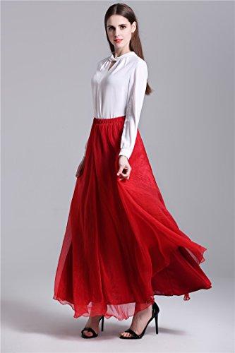 Minetom Donna Senza Maniche Casual Estate Moda A-Linea Dress Abito Vestito Elegante Spiaggia Lungo Tulle Elastico Bund Gonna Rosso