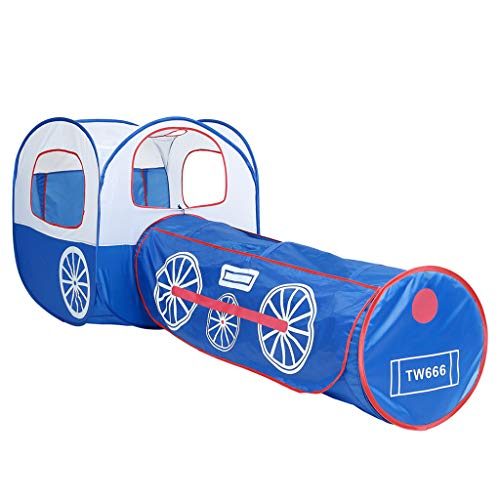 Longra Spielzeug Blauer Zug Spielzelt Spielhaus Babyzelt Pop Up Kinderspielzelt mit Tunnel Spielzelt Spielhaus Ideal für Zuhause & im Garten Indoor und Outdoor für Jungen Mädchen und Babys