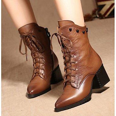 Rtry Femmes Chaussures En Peau De Vache Automne Hiver Mode Bottes Décontractées Chaussures Noir Brun Us7.5 / Eu38 / Uk5.5 / Cn38