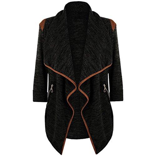 Strickjacke Damen Cardigan Vintage Kleidung Sweatshirt Jacke Mantel Langarm Irregulär Knit Sweater Outwear Tops Straße Windbreaker Jacke Plus Größe Von Xinan (XXL, Schwarz) (Womens Knit Leggings)