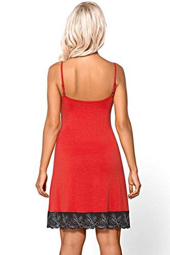 Vivisence Cherie 2004 Elegante Camicia Da Notte Con Ricamo Decorativo - Fabbricata In UE rosso-nero