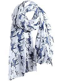 niceeshop(TM) Women Lady Fashion Voile Horse Print Soft Long Scarf Wrap Shawl (White)