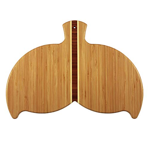Totally Bamboo Whale Tail Shaped Bamboo Serving and Cutting Board, 14-1/2