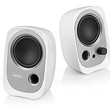 EDIFIER R12U – Set de altavoces con conexión de auriculares y control de volumen integrado. Color blanco.