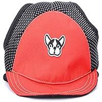 UKCOCO Perrito del perro del animal doméstico Sombrero del sol Perro ajustable Deporte al aire libre Gorra del sombrero de protección solar con agujeros para el oído Talla S (Rojo)