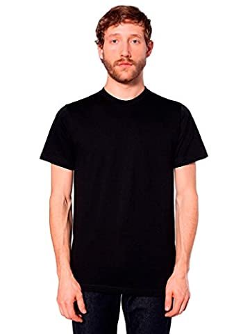 American Apparel Unisex Fine Jersey Short Sleeve T-Shirt, Black, Large