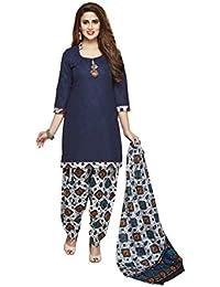 cf8ce033cc Roha Fab 100% Cotton Navy Blue White Orange Designer Combination Salwar  Suit Dress Material For