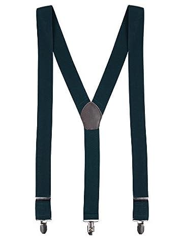 Herren Hosenträger Y-Form 3 Stabile Clips 3,5cm Breit Hochelastisch Längenverstellbar Basic Business Casual - Einfarbig (Grün Harz Kreuz)