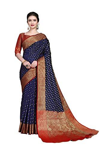 Soru Fashion Women's Banarasi Silk Kanjivaram Art Silk Booti Jacquard Saree With Blouse Piece (Dark Blue)