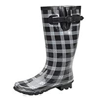 W232A STORMWELLS Funky wellies (wider leg) Black/Grey Print size 4