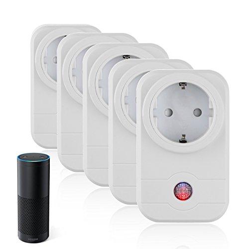 5er Set WIFI Smart Steckdose ( Funktioniert mit Amazon Alexa [Echo, Echo Dot] und Google Home ), Konesky intelligente WLAN Steckdose mit App Steuerung für IOS und Android (weiß)