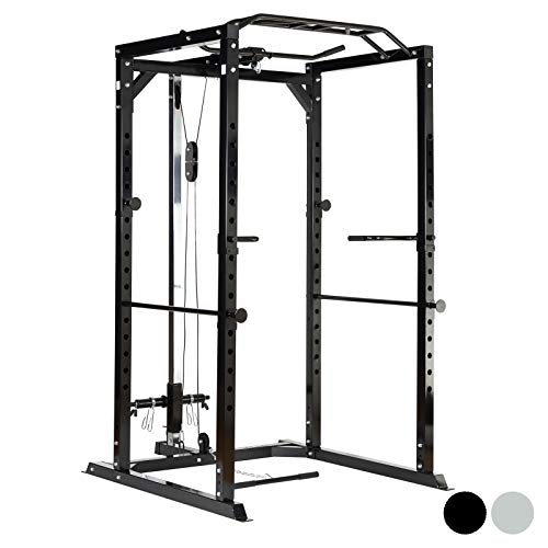 Mirafit Heavy Duty Olympic Power Cage & Cable System - Black or Silver