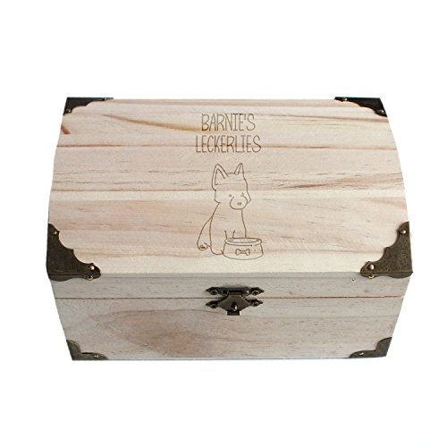 Geschenke.de Personalisierbare Schatztruhe mit Gravur für Leckerlis als Hunde Geschenk, Gravierte Trockenfutter Box für Hunde und individuelles Hundebesitzer Geschenk groß