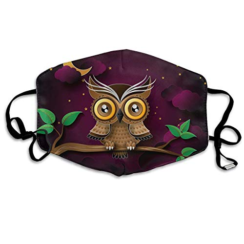 Monicago Einzigartige Unisex-Mundmaske, Gesichtsmaske, Cute Owl Night Branch Polyester Anti-dust Masks - Fashion Washed Reusable Face Mask for Outdoor ()