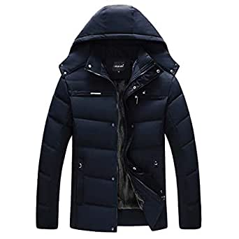 Leoie Warm Thick Jackets for Men Plus Size Coats Men Cotton Padded Jacket Parka Hooded Outwear with Velvet Down Coat for Winter Navy XXL