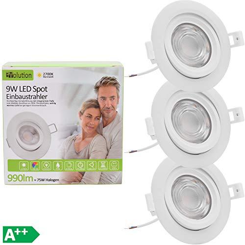 3x Evolution LED Einbaustrahler 9W 990lm IP44 Strahler Set 230V 55mm flach Wohn und Badezimmer schwenkbar drehbar 2700k warmweiß