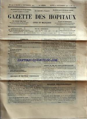 GAZETTE DES HOPITAUX [No 109] du 24/09/1907 - TRAVAUX ORIGINAUX - ALBERT AMBLARD - MEDECINE PRATIQUE - LES AFFECTIONS DE L'ESTOMAC - SOCIETES SAVANTES - ACADEMIE DES SCIENCES - ANALYSES - MEDECINE - CHIRURGIE - PEDIATRIE - OBSTETRIQUE - BACTERIOLOGIE