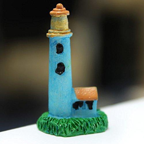 Bluelover mini resina faro micro paesaggio decorazioni garden decor fai da te-blu
