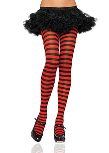 Leg Avenue 7100Q - Plus Größe Gestreiftes Strümpfhose Kostüm Damen Karneval, schwarz/rot, Größe: (EUR (Halloween Plus Kostüme Größe)