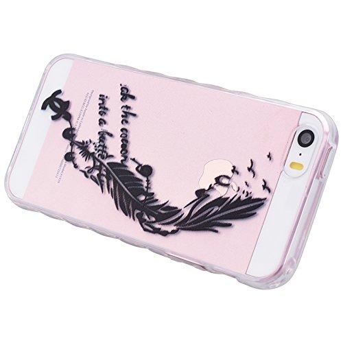 iPhone 5 / 5S / SE Hülle, Yokata Transparent Weich TPU Soft Case mit Welle Anti-Slip Silikon Bumper Crystal Klar Schutzhülle Durchsichtig Dünne Case Cover + 1 X Stylus Pen - Vögel Schwarz Feder