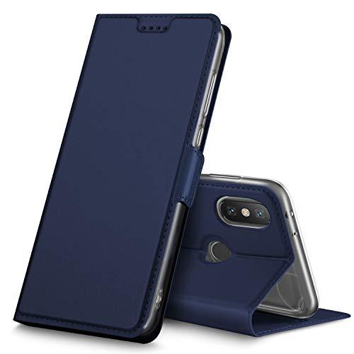 Geemai Xiaomi Mi A2 / Mi 6X Funda, Slim Case Protectora PU Funda Multi-ngulo a Prueba de Golpes y Polvo a Prueba de Silicona con Soporte Plegable para Xiaomi Mi A2 / Mi 6X.(Azul)