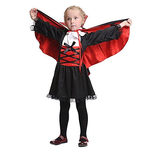 Mxssi Mädchen Halloween Vampir Kostüme Kleid mit Umhang + Kragen Blumen Cosplay Vampirkleid VampirKostüme für Kinder Elegentes Halloween Kostüme Kleid TanzKostüme