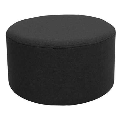 Rebecca SRL Repose-Pieds Pouf Tissu Rond Plat Noir Vintage Mobilier Chambre à Coucher Salon Sejour (Cod. RE4544)