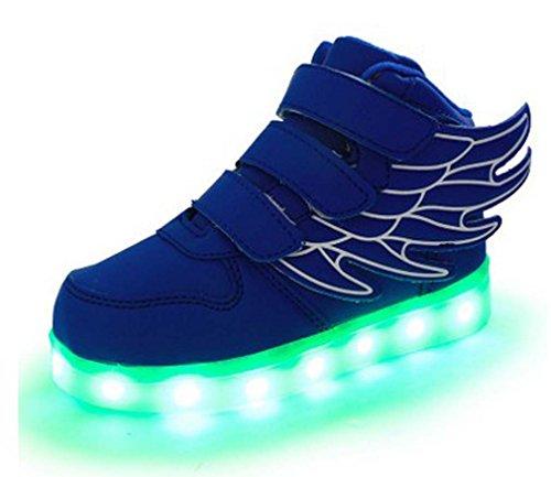 Littlepanda Kinder Jungen Mädchen Bunte LED leuchtet Sneakers athletische Schuhe mit Flügel mit USB mit einem Geschenk von Kopfhörer Blau
