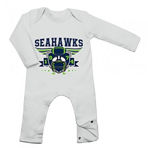Shirt Happenz Seahawks Babybody 1974 Super Bowl American Football Langarm Langärmliger Strampler, Farbe:Weiß (White BZ13);Größe:12-18 Monate