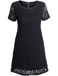 Femmes Etuit robe col rond manches courtes fleurs en dentelle de maille