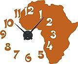 GRAZDesign 800177_BK_083 Wandtattoo Uhr Afrika | Wanduhr Landkarte mit Zahlen und Uhrwerk Wohnzimmer (69x57cm//083 haselnussbraun//Uhrwerk Schwarz)