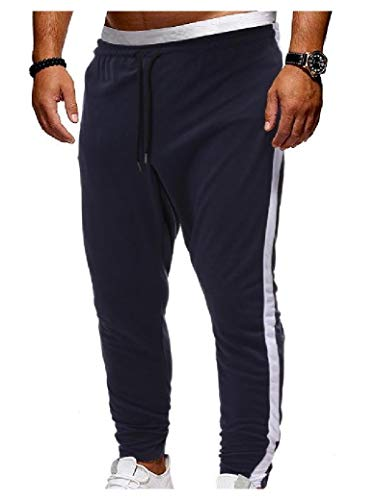 EnergyMen Fall & Winter Outdoor Patched Drawstring Waist Training Running Trousers Navy Bl