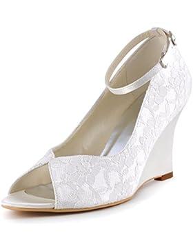ElegantPark WP1415 Donna Pizzo Peep Toe Tacco Alto Zeppa Cinturino Alla Caviglia Sposa Scarpe Da Sposa