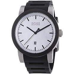1512957 Hugo Boss Men's Watch Analogue Quartz Black Silicone Strap Silver Dial