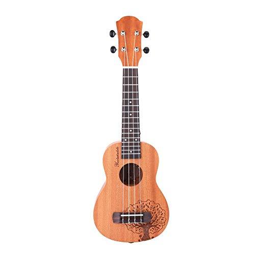 RiToEasysports - Ukulele per chitarra hawaiana per bambini, portatile, durevole, colore giallo 53,3 cm, 15 tasti, design albero portafortuna in mogano, ukulele soprano per principianti