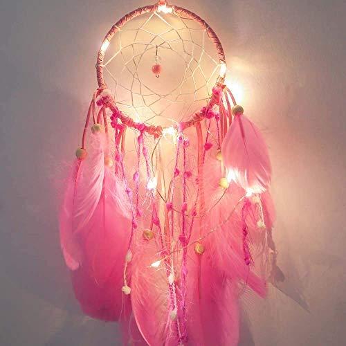 LED Dream Catcher hecho a mano pluma viento campana batería Powered dormitorio balcón pared superior romántica personalidad creativa hecho a mano accesorios de regalo (excluyendo la batería),Pink
