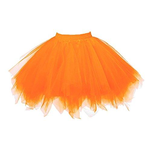 Honeystore Damen's Tutu Unterkleid Rock Abschlussball Abend Gelegenheit Zubehör Dunkelorange (Diy Plus Size Halloween Kostüme)