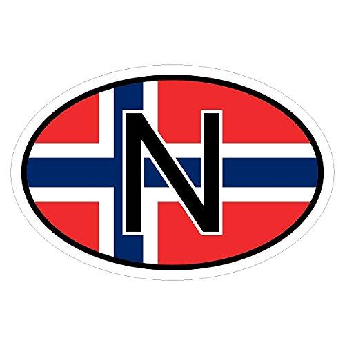 Oslo-zwei Leichte (Norwegen N in zwei Größen mehrfarbig Autoaufkleber Aufkleber KFZ Flagge)