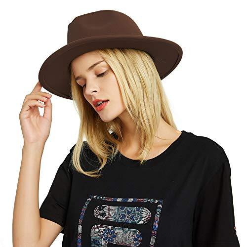 EINSKEY Fedora Hut Herren Damen Baumwolle Breiter Krempe Filzhut Panama Hut mit Gürtelschnalle