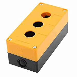 TTcity Orange Kunststoff schwarz 22mm Dia 3 Holes Push Button Switch Control Box Shell