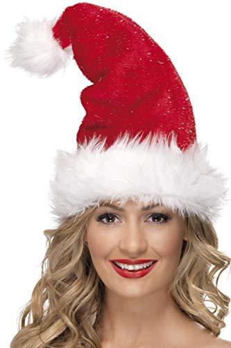 SMIFFYS Smiffy's Cappello di Babbo Natale, Rosso, con Ghirlanda, Deluxe per Adulti, Rosa, Taglia Unica, 25923