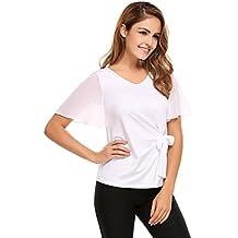 Meaneor Damen Elegant Bluse Sommershirt Kurzarm Batwing T-Shirt Chiffon Top  Fledermaus mit Bogen Binden c4a7fce2ef