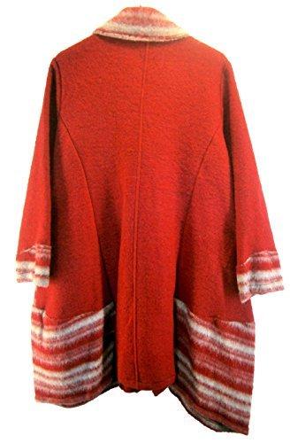 Mantel Wintermantel Wolle Wollfilz Lagenlook Gr-44-46 rot weiss grau