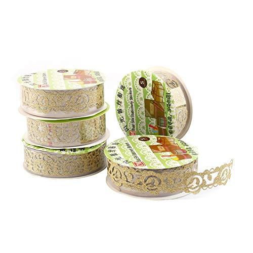 5 Rollen Lace Decor Kreatives Klebebänder Glitter Gold Pulver Spitzenband Selbstklebend Washi Tape Spitze Dekobänder Papier Aufkleber Kunsthandwerk DIY - ca. 100x18 mm (Golden)