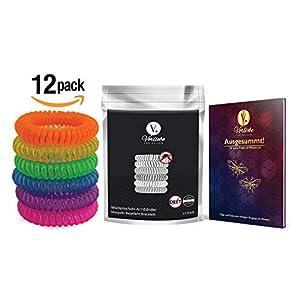 Vorliebe ® Mückenschutz Armband 12 Stück • Premium Moskitoschutz to go • Natürliche Mückenabwehr für Zuhause und unterwegs • DEET frei • Inkl. gratis E-Book (Spiralarmband, 12 Stück)